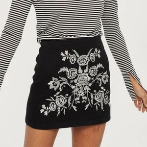 Topshop Petite Floral Embroidered Mini Skirt